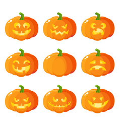 set of cartoon halloween pumpkin jack-o-lanterns vector image