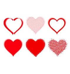 set of halftone hearts vector image vector image