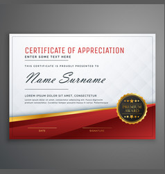 stylish red and golden premium certificate design vector image