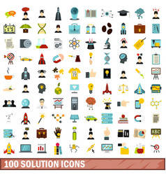 100 solution icons set flat style vector image