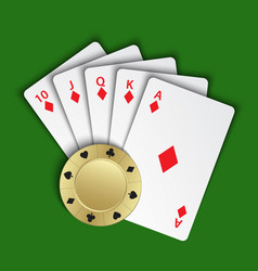 A royal flush diamonds with gold poker chip vector