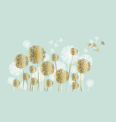 abstract white and gold summer dandelion motif vector image