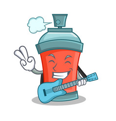 aerosol spray can character cartoon with guitar vector image