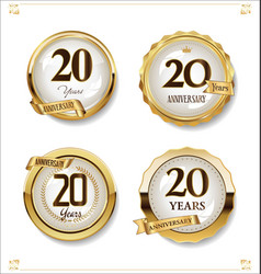 anniversary golden labels retro vintage design vector image