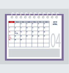 April page 2019 planner calendar with marked tax vector
