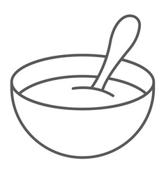 Baby cereal thin line icon food and eat vector