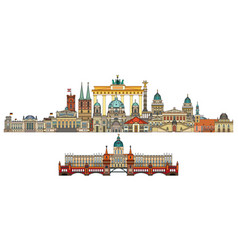 Berlin colorful line art 10 vector