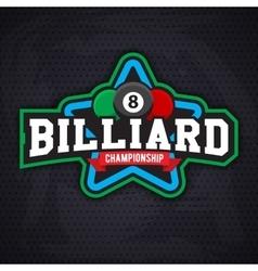Billiards and snooker sports emblem vector