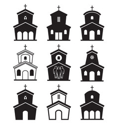 Black and white icons of church buildings vector