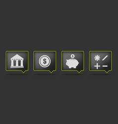 black bank icons vector image