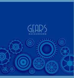 Blue background with 3d gears vector