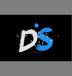 blue white alphabet letter combination ds d s vector image