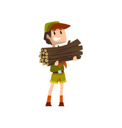 Boy carrying a bundle of firewood boy scout vector