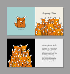 business cards design funny fox family vector image