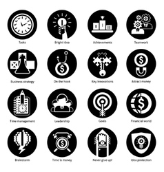 Business Concept Icons Black vector image