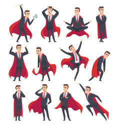 Businessman superheroes male characters in action vector