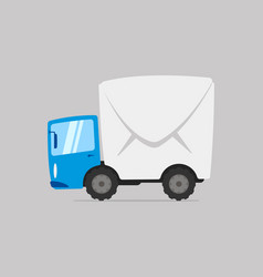 cartoon mail delivery truck vector image