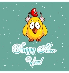 Chick In Earmuffs Greeting Card vector image