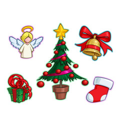 Christmas icon set - angel tree gift bell stocking vector