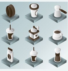 coffee color gradient isometric icons vector image