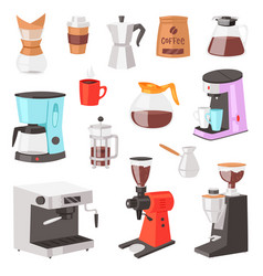 coffee machine coffeemaker and coffee vector image