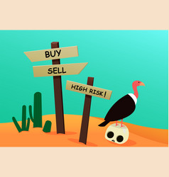 Corpse investor in desert with signpost vulture vector
