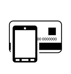 Credit or debit card and cellphone icon vector