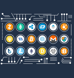 cryptocurrency icons set on computer microscheme vector image vector image