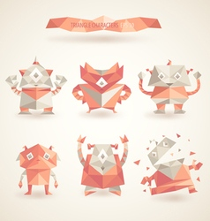 cute characters robot set origami by triangles vector image
