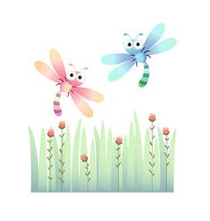 Cute dragonflies flying vector