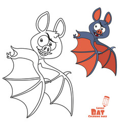 cute halloween flying color and outlined vector image