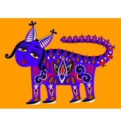 Fantastic ethnic folk animal on Ukrainian vector image