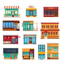 fastfood restaurant flat icons set vector image