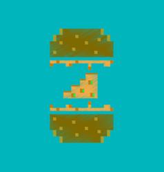 Flat shading style icon pixel cheeseburger vector