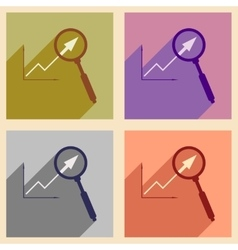 Flat with shadow icon concept Economic graph and vector image