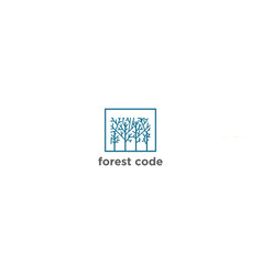 forest logo template in linear style vector image