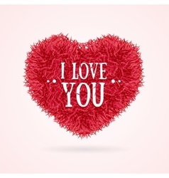 Fur Banner Heart Love You Valentine Concept Card vector