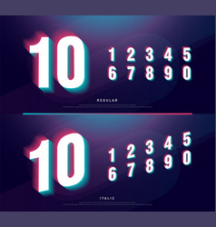 glitched numbers alphabet font design number vector image