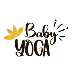 Golden lotus flower and inscription baby yoga vector