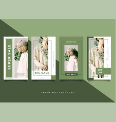 Green fashion instagram stories template vector