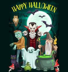 Halloween ghost vampire zombie and wizard vector