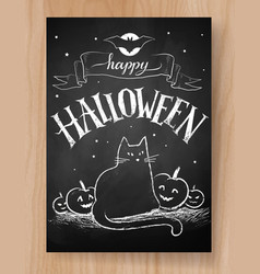 halloween postcard chalked design vector image