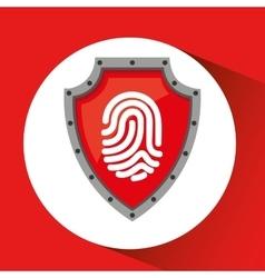 Hand holding fingerprint shield protection data vector