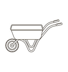 hand truck with one wheel wheelbarrow for the vector image