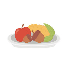 happy thanksgiving day apple corn and acorn dish vector image