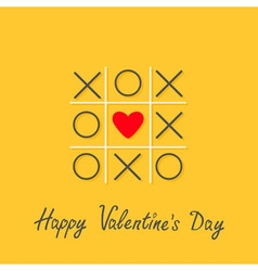 Happy Valentines Day Love card Tic tac toe game vector image