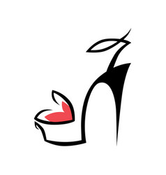 High heel shoe symbol icon vector