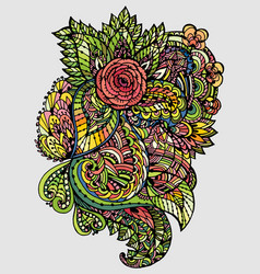 image doodle drawing for coloring the floral vector image