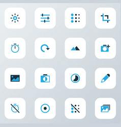 image icons colored set with monochrome edit vector image