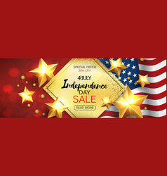 Independence day sale banner with golden stars anf vector